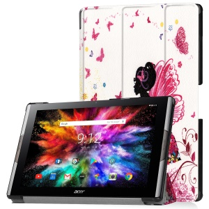 Pattern Printing Leather Tri-fold Stand Tablet Protective Flip Shell for Acer Iconia One 10 A3-A50 - Butterfly Girl