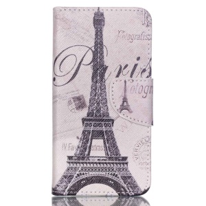 Cross Pattern Leather Wallet Case for Acer Liquid Z330 Z320 M320 M330 - Paris Eiffel Tower