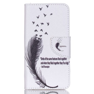 Cross Pattern Leather Stand Case for Acer Liquid Z330 Z320 M320 M330 - Feather Pattern