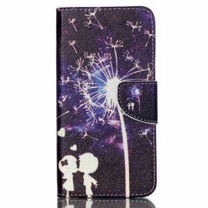 Cross Textured Leather Stand Case for Acer Liquid Z630 Z630S - Lovers and Dandelion