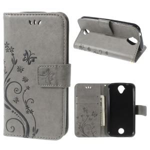 Butterfly Leather Stand Flip Cover for Acer Liquid Z330 Z320 M320 M330 - Grey