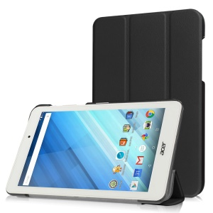 Tri-fold Stand Leather Case for Acer Iconia One 8 B1-850 - Black