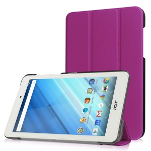 Tri-fold Stand Leather Case for Acer Iconia One 8 B1-850 - Purple