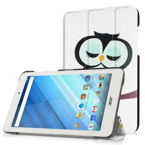 Color Printed Leather Stand Case for Acer Iconia One 8 B1-850 - Dozing Owl