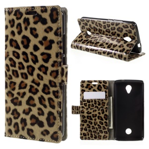 Leopard Skin Wallet Leather Stand Cover for Acer Liquid Zest/Z525