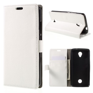 Litchi Texture Leather Wallet Stand Cover for Acer Liquid Zest/Z525 - White