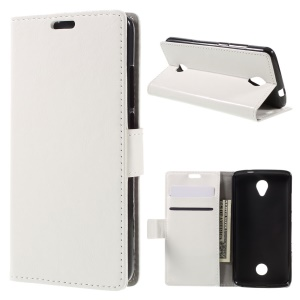 Crazy Horse Wallet Leather Stand Cover for Acer Liquid Zest Z525 Z528 - White