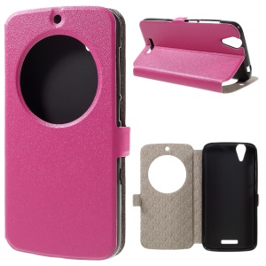 Sand-like Texture Window View Leather Flip Case for Acer Liquid Z630 Z630S - Rose