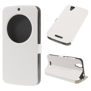 Sand-like View Window Leather Stand Cover for Acer Liquid Z630 Z630S - White