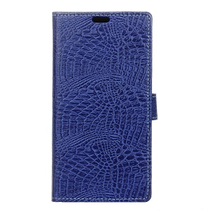 Crocodile Skin Wallet Leather Stand Cover for Acer Liquid Zest Plus - Dark Blue