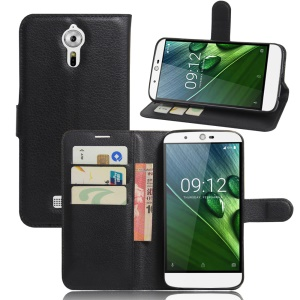 Litchi Texture Leather Wallet Stand Case for Acer Liquid Zest Plus - Black