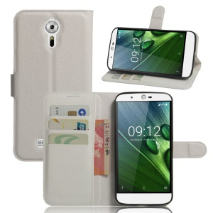 Litchi Texture Stand Leather Wallet Cover for Acer Liquid Zest Plus - White