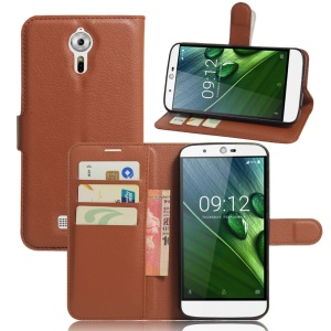 Litchi Grain Leather Wallet Stand Phone Shell for Acer Liquid Zest Plus - Brown