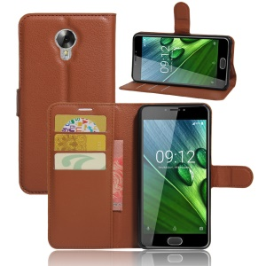 Lychee Skin Leather Stand Cover with Card Slots for Acer Liquid Z6 Plus - Brown