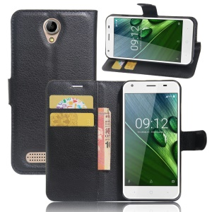 Lychee Skin Wallet Leather Stand Case for Acer Liquid Z6 - Black