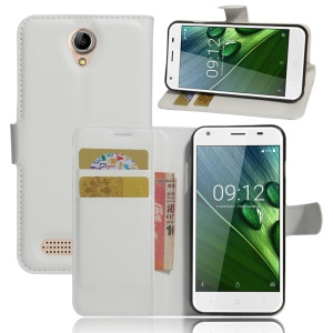 Lychee Skin Wallet Leather Stand Cover for Acer Liquid Z6 - White