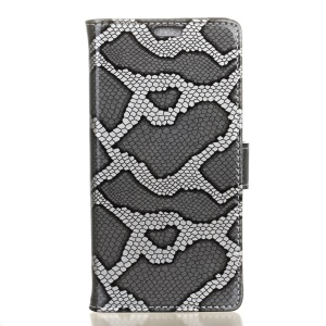 Snake Skin Leather Wallet Stand Case for Acer Liquid Z6 Plus -  Grey