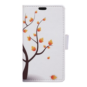 Patterned Leather Case Wallet Stand for Acer Liquid Z6 Plus - Autumn Maple Tree