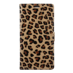 Glossy Leopard Leather Wallet Phone Case with Stand for Acer Liquid Z6 Plus - Brown