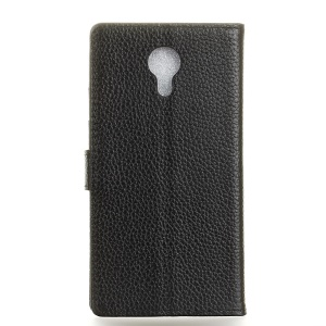 Genuine Leather Wallet Stand Phone Protector Case for Acer Liquid Z6 Plus - Black