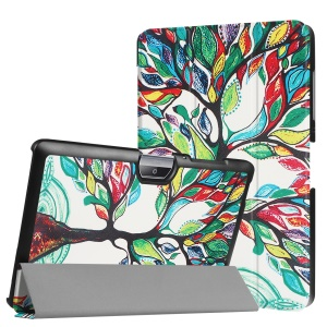 Tri-fold Flip Patterned Leather Case for Acer Iconia One 10 B3-A30 - Colored Tree Painting