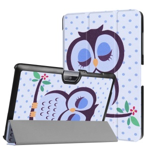 Tri-fold Leather Patterned Stand Shell for Acer Iconia One 10 B3-A30 - Owl Napping on Branch