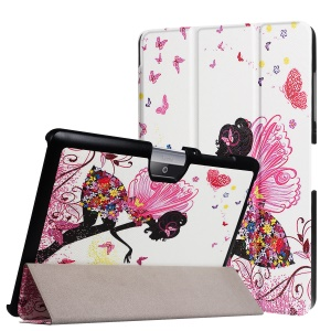PU Leather Tri-fold Flip Stand Case for Acer Iconia One 10 B3-A30 - Flowered Gril with Wings