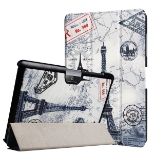 Magnetic Leather Tri-fold Stand Cover for Acer Iconia One 10 B3-A30 - Eiffel Tower and Map
