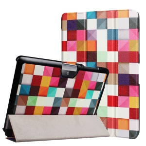 Printing Pattern Tri-fold Leather Case for Acer Iconia One 10 B3-A30 - Colorful Triangle Grid