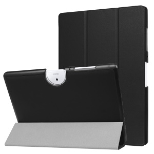 Tri-fold Leather Stand Case Protective Shell for Acer Iconia One 10 B3-A40 - Black