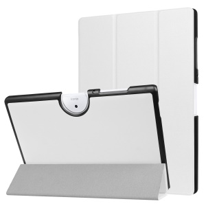Elegant Tri-fold Leather Stand Casing for Acer Iconia One 10 B3-A40 - White