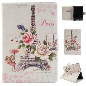 Fragrant Card Slot Smart Leather Case for Amazon Kindle Paperwhite 2 with Stand - Flower and Eiffel Tower