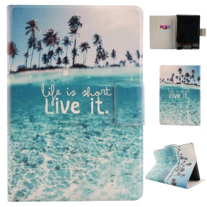Fragrant Card Holder Smart Leather Case for Amazon Kindle Paperwhite 2 - Seaside and Quote