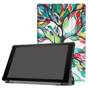 Pattern Printing Leather Tri-fold Stand Tablet Cover for Amazon Fire HD 10 (2017) - Colored Tree Painting