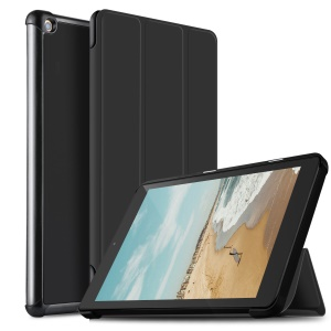 Funda De Cuero Inteligente De Triple Soporte Para Amazon Fire HD 10 (2017) - Negro