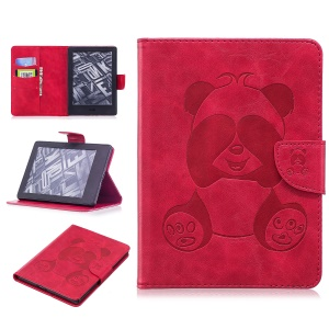 Imprint Panda Wallet Leather Stand Tablet Casing for Amazon Kindle (2016) - Red