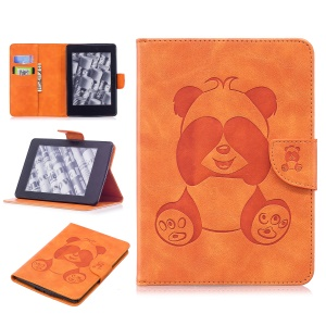 Imprint Panda Wallet Leather Stand Tablet Case with Card Slots for Amazon Kindle Paperwhite 1 2 3 - Orange