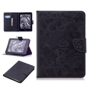 Imprint Panda Wallet Cubierta De Tableta De Pie De Cuero Para Amazon Kindle Voyage - Negro