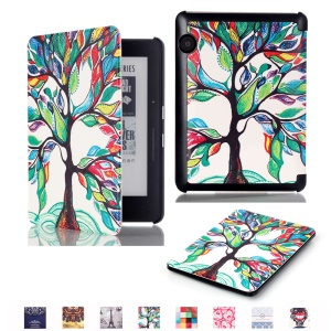 Smart Leather Flip Case for Amazon Kindle Voyage - Colorful Tree