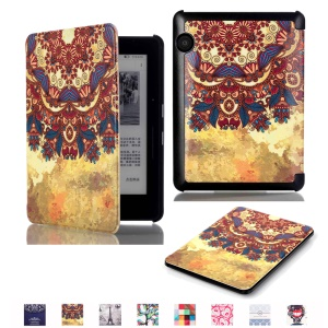 Smart Leather Flip Shell for Amazon Kindle Voyage - Retro Flower