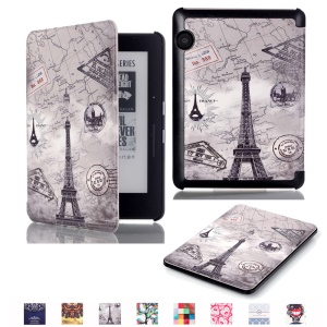 Smart Leather Flip Case for Amazon Kindle Voyage - Eiffel Tower and Map