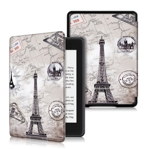 Pattern Printing Smart Leather Cover Shell Case for Amazon Kindle Paperwhite (2018) - Eiffel Tower