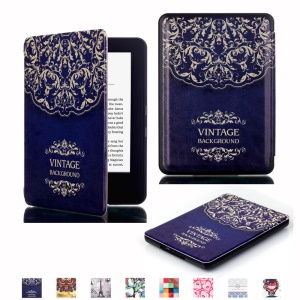Flip Smart Leather Cover Case for Amazon New Kindle 2014 - Vintage Background Flowers