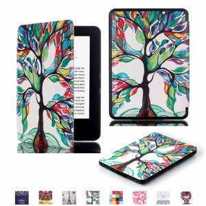 PU Leather Smart Shell Case for Amazon New Kindle 2014 - Colorful Tree