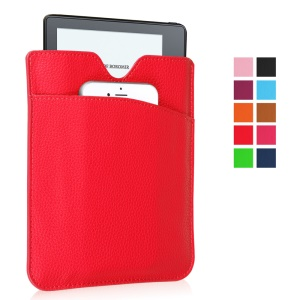 Litchi PU Leather Pouch Case for Amazon Kindle Oasis - Red