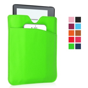 Litchi PU Leather Pouch Shell for Amazon Kindle Oasis - Green