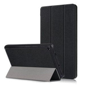 Tri-fold PU Leather+PC Stand Tablet Cover for Amazon Fire 7 (2019) - Black
