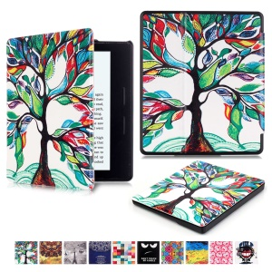 Patterned Leather Flip Cover for Amazon Kindle Oasis - Flourishing Tree