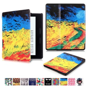 Patterned Leather Flip Case for Amazon Kindle Oasis - Oil Painting