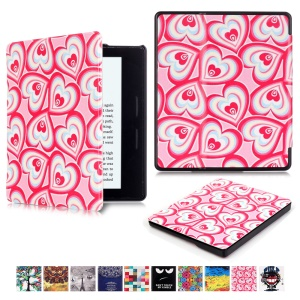Patterned Leather Flip Case for Amazon Kindle Oasis - Multiple Hearts